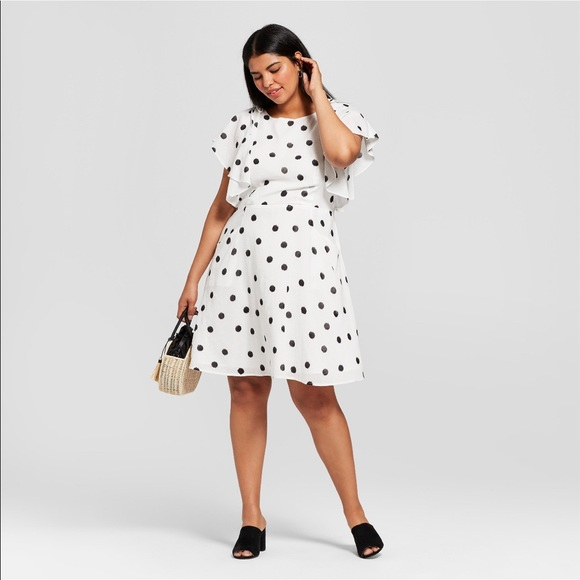 cce644b36fc NWT A New Day Polka Dot Ruffles Sleeve Dress